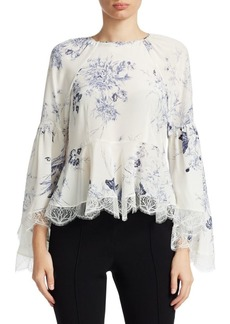 Elizabeth and James Inky Floral Avalon Silk Peplum Top