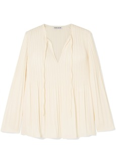 Elizabeth and James Jade Pleated Crepe De Chine Blouse