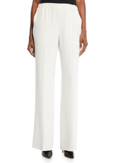 Elizabeth and James Jones Wide-Leg Pull-On Crepe Pants w/ Crease