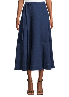 Elizabeth and James Leila Seamed Cotton Midi Skirt