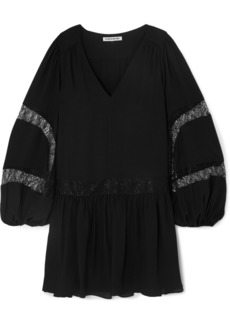 Elizabeth and James Leslie Lace-trimmed Georgette Mini Dress