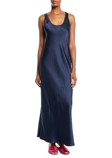 Elizabeth and James Malta Long Scoop-Neck Sleeveless Satin Slip Dress