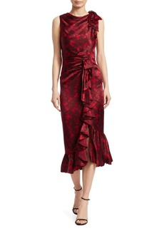 Elizabeth and James Nannon Asymmetric Silk Floral-Print Sheath Dress