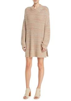 Elizabeth and James Orra Crewneck Oversized Ribbed Melange-Knit Pullover Sweater Tunic