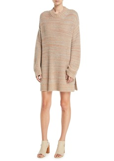 Elizabeth and James Orra Crewneck Oversized Ribbed Melange-Knit Pullover Sweater Tunic