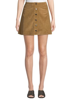 Elizabeth and James Prewitt Button-Front Corduroy Mini Skirt