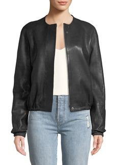 Elizabeth and James Tinley Collarless Leather Bomber Jacket