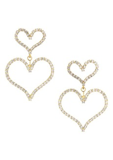 Elizabeth Cole Color of My Love Emilia 24K Yellow Goldplated & Austrian Crystal Double Heart Drop Earrings