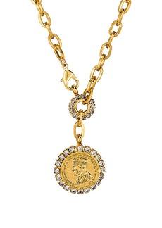Elizabeth Cole Crystal Coin Necklace