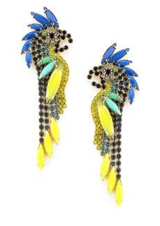 Elizabeth Cole Crystal Parrot Earrings