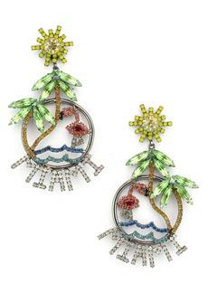 Elizabeth Cole Miami Crystal Drop Earrings
