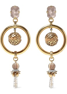 Elizabeth Cole Woman 24-karat Gold-plated Crystal And Bead Earrings Gold