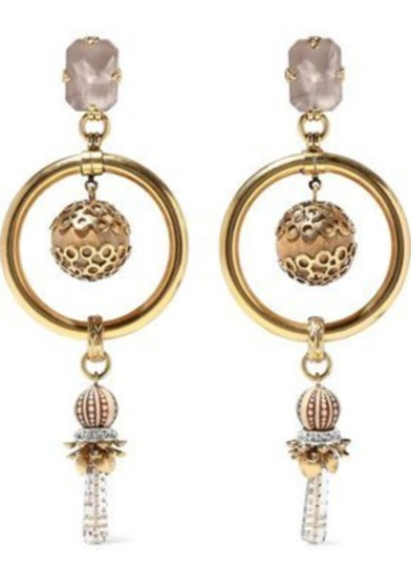 b354582dd295c Woman 24-karat Gold-plated Crystal And Bead Earrings Gold