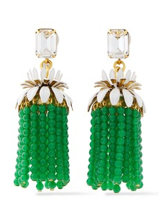 Elizabeth Cole Woman 24-karat Gold-plated Crystal And Bead Tassel Earrings Green