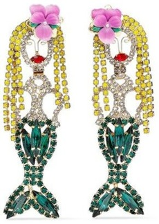 Elizabeth Cole Woman 24-karat Gold-plated Crystal And Resin Earrings Green