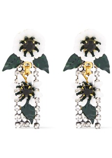 Elizabeth Cole Woman 24-karat Gold And Hematite-plated Crystal And Resin Earrings White