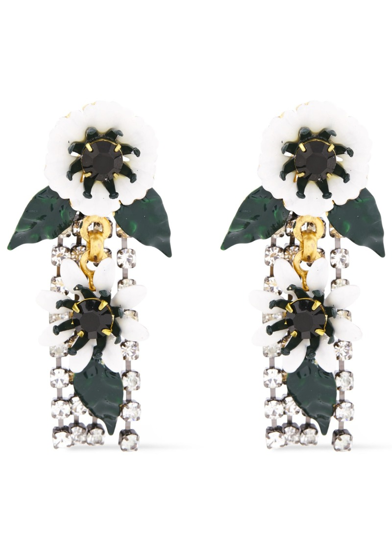 Elizabeth Cole Woman 24-karat Gold-plated Crystal And Resin Earrings White