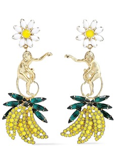 Elizabeth Cole Woman 24-karat Gold-plated Crystal And Stone Earrings Yellow