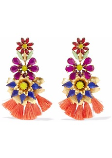 Elizabeth Cole Woman 24-karat Gold-plated Crystal And Tassel Earrings Multicolor