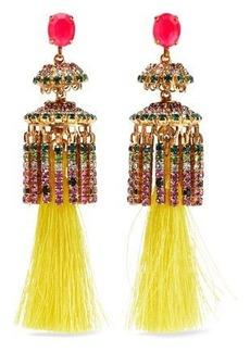 Elizabeth Cole Woman 24-karat Gold-plated Crystal And Tassel Earrings Yellow
