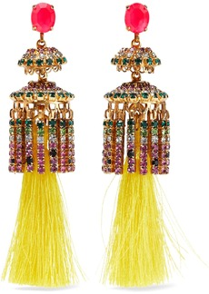 Elizabeth Cole Woman 24-karat Gold-plated Crystal And Tassel Earrings Yellow