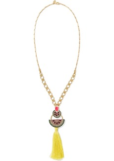 Elizabeth Cole Woman 24-karat Gold-plated Crystal And Tassel Necklace Multicolor