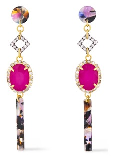 Elizabeth Cole Woman 24-karat Gold-plated Crystal And Tortoiseshell Acetate Earrings Pink