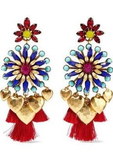 Elizabeth Cole Woman 24-karat Gold-plated Crystal Bead And Tassel Earrings Multicolor