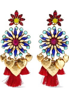 Elizabeth Cole Woman 24-karat Gold-plated Crystal Bead And Tassel Earrings Multicolor
