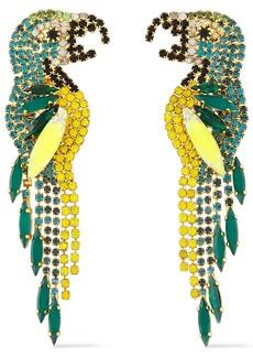 Elizabeth Cole Woman 24-karat Gold-plated Crystal Earrings Emerald