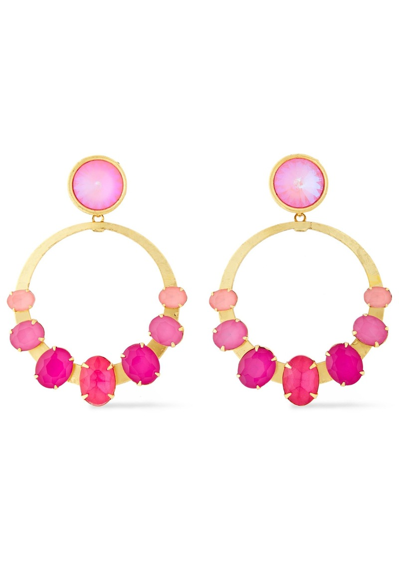 Elizabeth Cole Woman 24-karat Gold-plated Crystal Earrings Pink