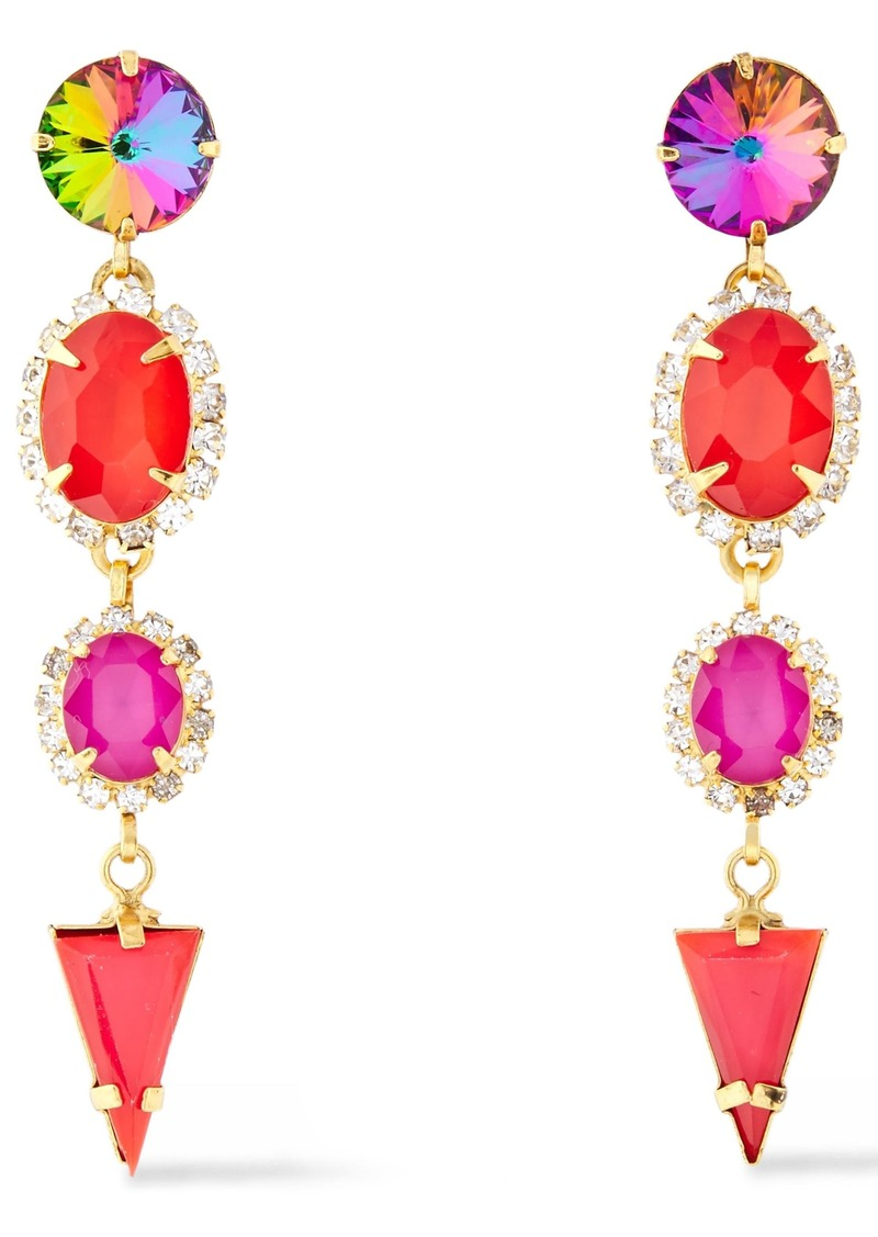 Elizabeth Cole Woman 24-karat Gold-plated Crystal Earrings Red