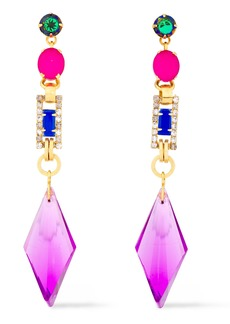 Elizabeth Cole Woman 24-karat Gold-plated Crystal Earrings Violet