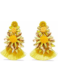 Elizabeth Cole Woman 24-karat Gold-plated Crystal Resin And Tassel Earrings Yellow