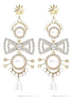 Elizabeth Cole Woman 24-karat Gold-plated Faux Pearl And Crystal Earrings White