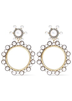 Elizabeth Cole Woman 24-karat Gold-plated Faux Pearl And Crystal Hoop Earrings Gold
