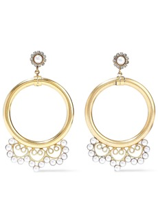 Elizabeth Cole Woman 24-karat Gold-plated Faux Pearl And Crystal Hoop Earrings White