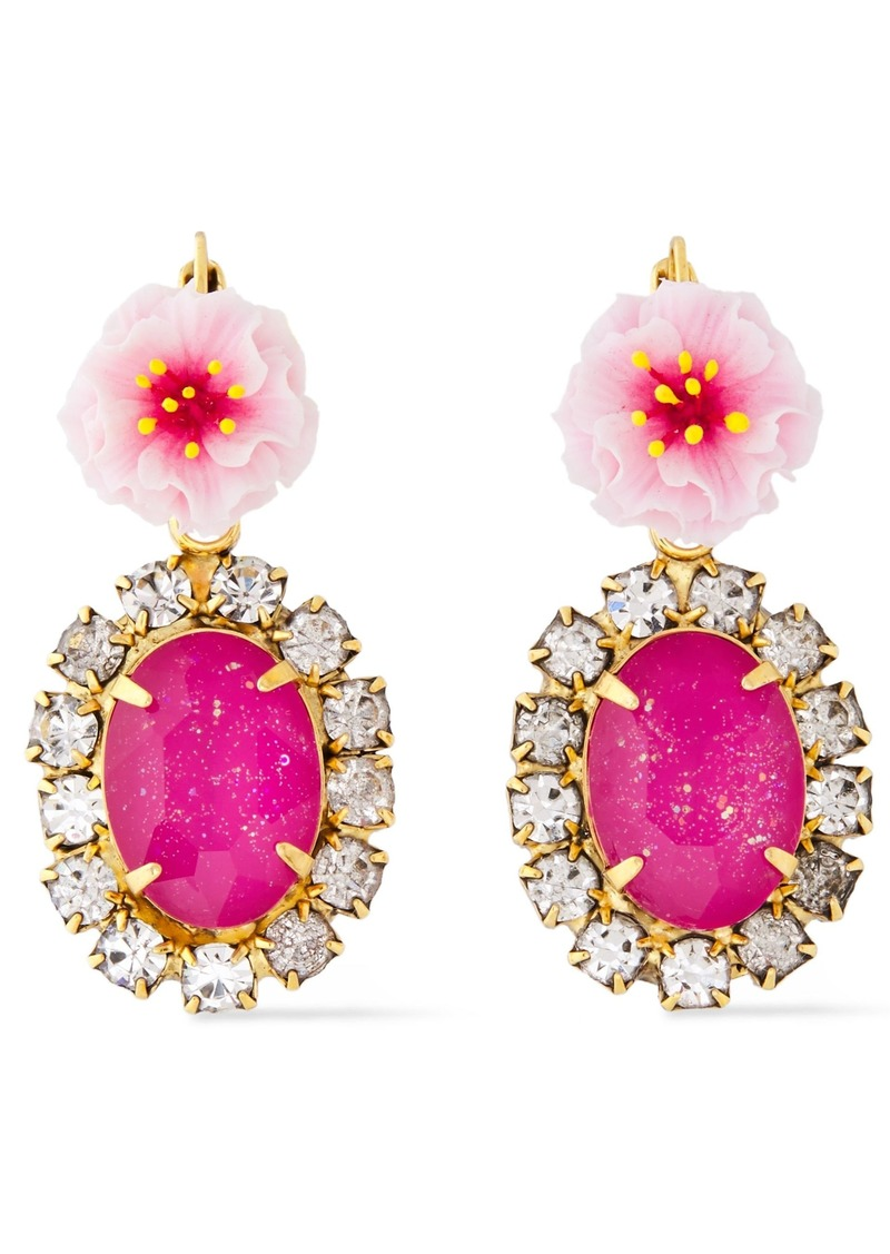 Elizabeth Cole Woman 24-karat Gold-plated Resin And Crystal Earrings Pink