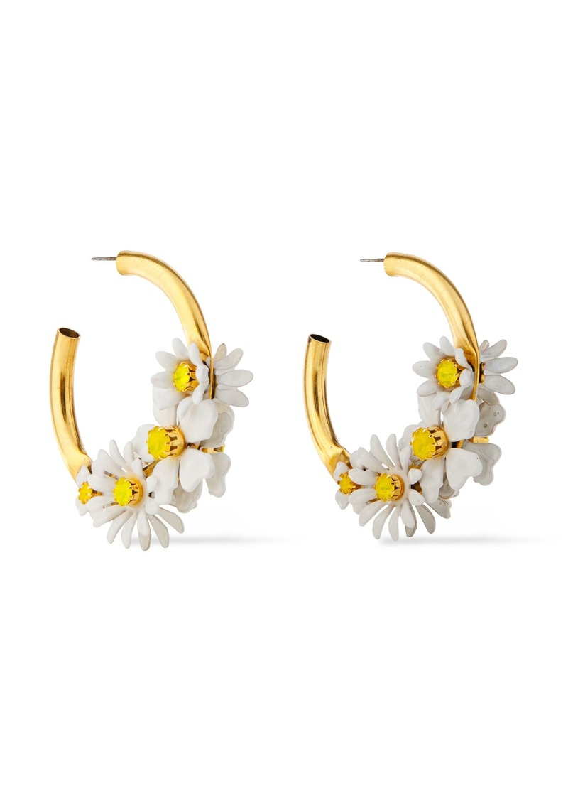 Elizabeth Cole Woman 24-karat Gold-plated Resin And Swarovski Crystal Hoop Earrings Gold
