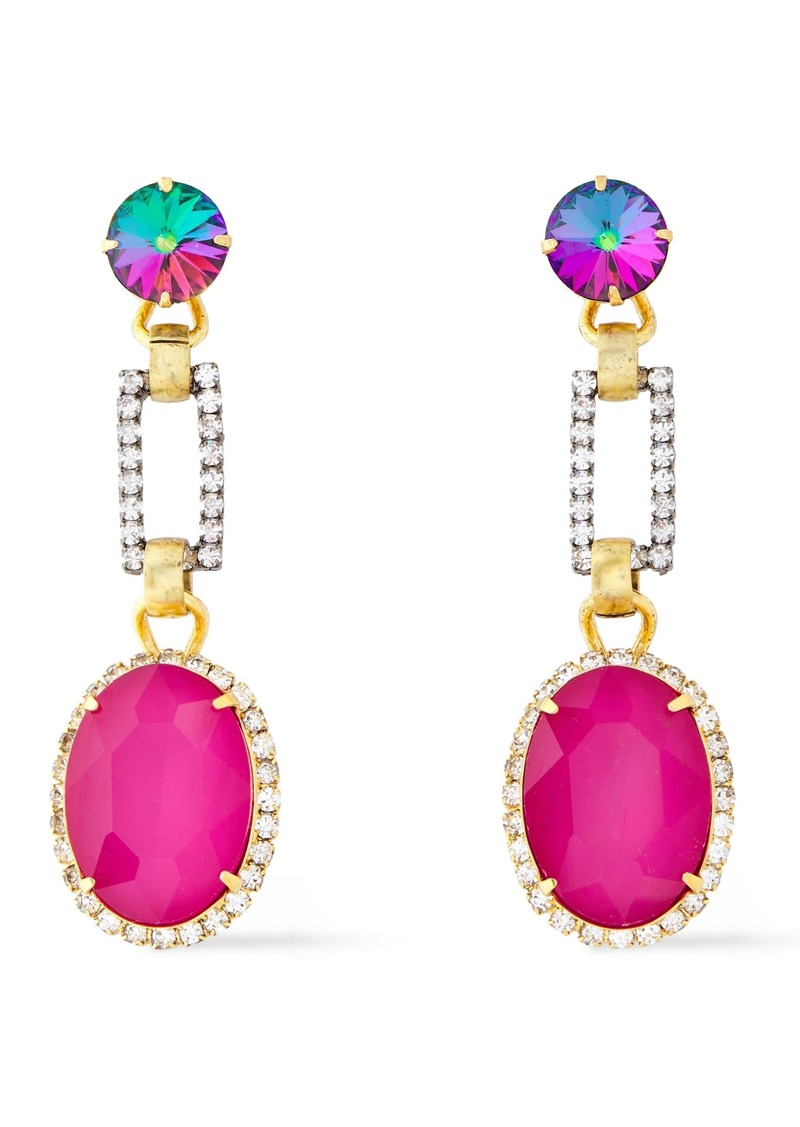 Elizabeth Cole Woman 24-karat Gold-plated Silver-tone And Crystal Earrings Pink