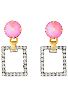 Elizabeth Cole Woman 24-karat Gold-plated Silver-tone And Swarovski Crystal Earrings Pink