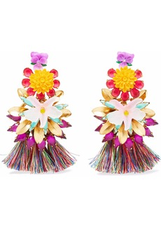 Elizabeth Cole Woman 24-karat Gold-plated Stone Acrylic And Tassel Earrings Multicolor