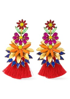 Elizabeth Cole Woman 24-karat Gold-plated Stone Acrylic And Tassel Earrings Red