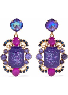 Elizabeth Cole Woman 24-karat Gold-plated Stone And Crystal Earrings Purple