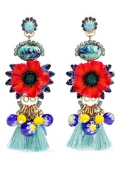 Elizabeth Cole Woman 24-karat Gold-plated Stone And Crystal Earrings Red