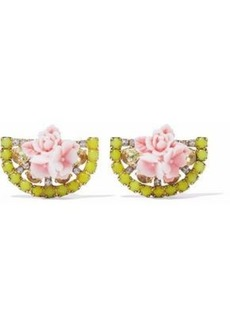 Elizabeth Cole Woman 24-karat Gold-plated Swarovski Crystal And Acrylic Earrings Yellow