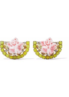 Elizabeth Cole Woman 24-karat Gold-plated Swarovski Crystal And Acrylic Earrings Yellow