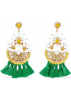 Elizabeth Cole Woman 24-karat Gold-plated Swarovski Crystal And Tassel Earrings Gold