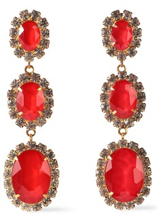 Elizabeth Cole Woman 24-karat Gold-plated Swarovski Crystal And Stone Earrings Red