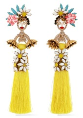 Elizabeth Cole Woman 24-karat Gold-plated Swarovski Crystal Stone Acrylic And Tassel Earrings Yellow